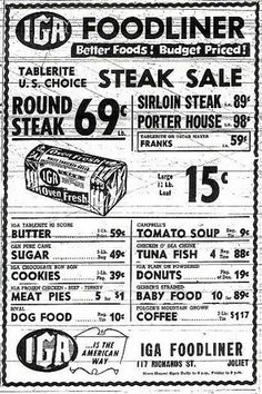 ☜(◕¨◕)☞ Grocery ad from 1947 I could only dream of getting a shopping day like this Grocery Ads, Grocery Store, Retro Ads, Vintage Ads, Vintage Stuff, Vintage Items, Old Advertisements, Advertising, 70th Birthday Parties