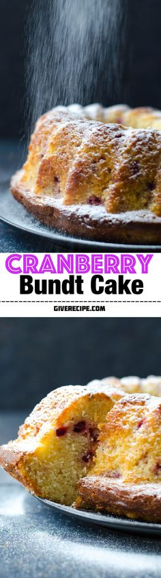 Cranberry Bundt Cake is made with my basic cake mixture. Very easy and simple. Moist inside and crusty outside.   http://giverecipe.com   #cake #cranberry