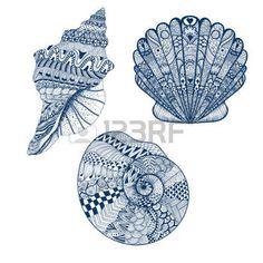 etoile de mer: Zentangle stylisé réglé seashells bleu. Hand Drawn illustration vectorielle isolé sur fond blanc. Dessinez pour le tatouage ou makhenda. Seashell collection. Ocean life.