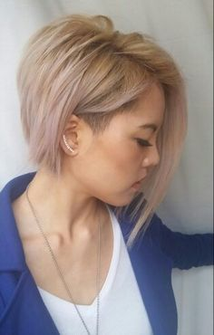 Cut #2: Subtle lilac/pastel toned blonde asymmetrical bob with shaved side