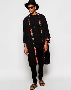 Reclaimed #Vintage #Kimono In Mid Length With #Floral Trim