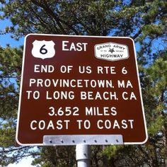 Historic #Route6, #Provincetown, MA to #LongBeach, CA. 3,652 miles coast to coast. We sell an awesome belt buckle made from a picture of this sign. http://swell247.com/catalogsearch/result/?q=landmarks