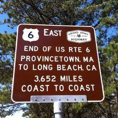 Historic #Route6, #Provincetown, MA to #LongBeach, CA. 3,652 miles coast to coast.
