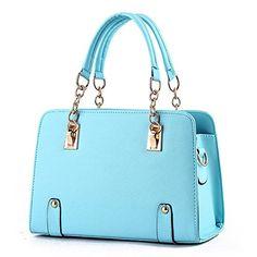Blue Sunshine Lady Classical Simple High Quality Fashion Handbag(Light blue) * Click image to review more details.