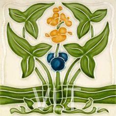 Art Nouveau Reproduction Tile #107, from Villa Lagoon Tile