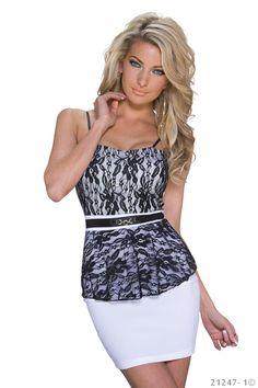 €32,95 korte witte peplum jurk met kant  www.Dasonia.com Bestel voor 17:30 en ontvang morgen! Of bezoek onze showroom te Capelle aan den IJssel - Rotterdam