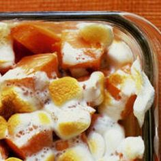 Candied Yams Recipe Side Dishes with yams, kosher salt, whole cloves, unsalted butter, light brown sugar, apple juice, mini marshmallows