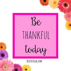 Have you thought about what you're thankful for today?