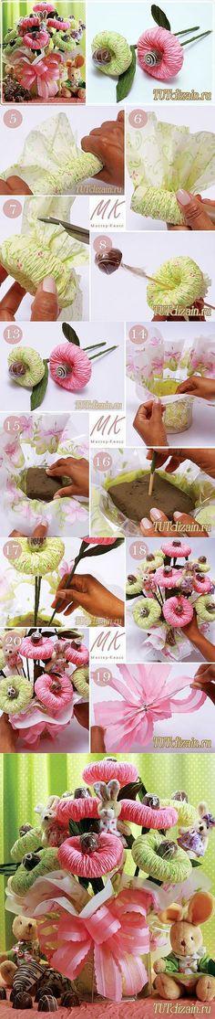Оригинальный букет из папиросной бумаги своими руками + Фото » Дизайн & Декор своими руками