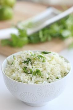 Low Carb Cauliflower Cilantro and Lime Rice