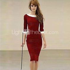 XinYuanGe® Women's Black/Blue/Red Vintage Turn Down Collar Midi Dress - USD $20.99