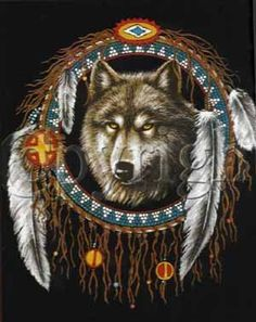 Wolf Indian Dream Catchers   Your typical indian dreamcatcher...