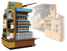 Point of Purchase Design | POP | POS | POSM | Retail Display | Starbucks Safeway Island Kiosk POP Display by tenfour archive