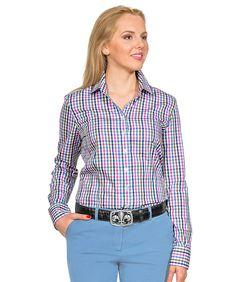 d98225f3f7c921 Bluse Karo Blau-Braun-Marine-Pink-Weiß, 100 % Baumwolle.