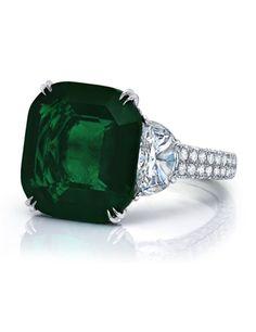Cushion-cut Colombian Emerald Ring