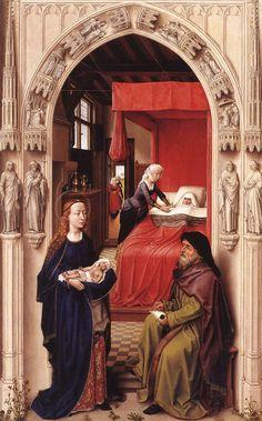 WEYDEN, Rogier van der St John Altarpiece (left panel) 1455-60 Oil on oak panel, 77 x 48 cm Staatliche Museen, Berlin 1john.jpg (750×1206)