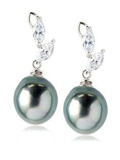 Radiance Pearl 10mm Tahitian South Sea Pearl & Crystal Earrings
