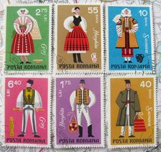 Romanian folk costume stamps