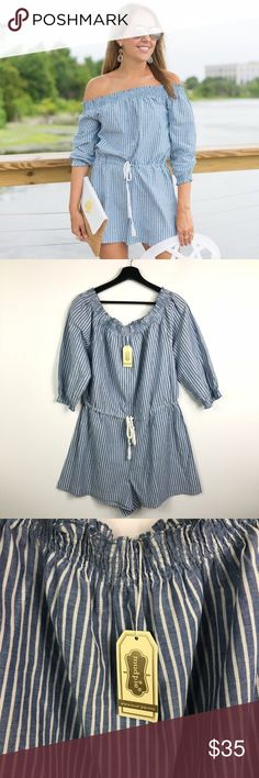 NEW Mud Pie Striped Off the Shoulder Romper Adorable blue and white striped off the shoulder romper from Mudpie. Size large (12-14). 100% cotton. New with tags. No trades or try ons please! Mud Pie Pants Jumpsuits & Rompers