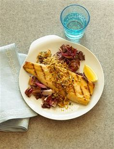 Grilled Trout Fillets with Crunchy Pine-nut Lemon Topping - Rainbow Trout Recipes - Sunset Rainbow Trout Recipes, Easy Fish Recipes, Lemon Recipes, Wine Recipes, Seafood Recipes, Cooking Recipes, Grilling Recipes, Summer Recipes, Healthy Recipes