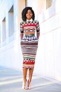Stella Jean Tribal Midi Dress