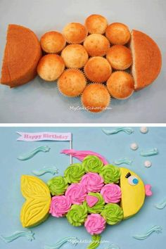 Fish Cake! (Made With 12 Cupcakes and A Round Cake)