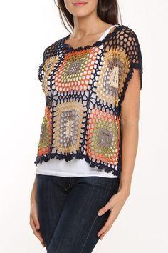 Fabulous Crochet a Little Black Crochet Dress Ideas. Georgeous Crochet a Little Black Crochet Dress Ideas. Débardeurs Au Crochet, Crochet Bolero, Moda Crochet, Crochet Jacket, Crochet Woman, Crochet Blouse, Crochet Granny, Crochet Tops, Free Crochet
