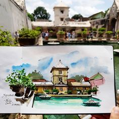 Alicia Aradilla (@a.aradilla) в Instagram: «Sketching today in Water Castle with Jogja Urban Sketchers. Thanks so much! Was a perfect day …» #aquarell #art #painting #watercolor #watercolour #sketch #paint #drawing #sketching #sketchbook #travelbook #archisketcher #sketchaday #sketchwalker #sketchcollector #traveldiary #topcreator #usk #urbansketch #urbansketchers #скетчбук #скетч #скетчинг #pleinair #aquarelle #watercolorsketch #usk #architecture #painting #illustration