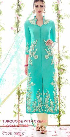 Competent Tarquoise Cotton Satin Floral Design Long Straight Cut Pakistani Suit Buy Apparel