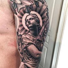 Angel Statue Tattoo Ideas Designs For Men Forarm Tattoos, Boy Tattoos, Line Tattoos, Tattoos For Guys, Sleeve Tattoos, Tattos, Lil B Tattoo, Zeus Tattoo, Statue Tattoo