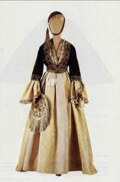 Greek traditional costume from Athens! Greek Traditional Dress, Traditional Outfits, Queen Costume, Folk Costume, Empire Ottoman, Greek Fashion, Folk Fashion, Greek Clothing, Fashion History