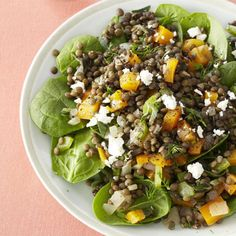 Oregano-spiced lentils are tossed with onions, celery chunks, tri-colored bell peppers, and feta cheese over a bed of spinach leaves in this classic French salad. #MyPlate