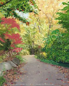 """Elaine's Path - 8"""" x 10"""" Digital Painting Print - autumn painting - nature path print - vibrant print - fall leaves painting - red - yellow - green - seasons - thanksgiving"""