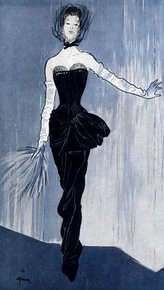 Gown by Jacques Fath, 1946, illustrated by Rene Gruau