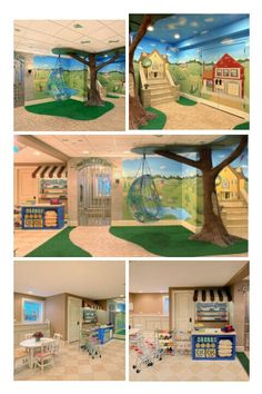 im in love with this idea! I want to go a little more fantasy like fairies, gnomes and pricesses but still. Home Childcare, Home Daycare, Basement Daycare Ideas, Daycare Spaces, Kid Spaces, Daycare Design, Kindergarten Design, Preschool Rooms, Church Nursery