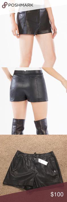Bcbg maxazria yazzy style leather shorts size 0 BCBG Maxazria yazzy style shorts. Leather black size 0. New with tag BCBGMaxAzria Shorts