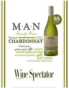 MAN Family Wines Chardonnay 2012 - 88 points - Wine Spectator