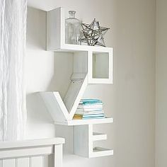 Shop Love Shelf from Pottery Barn Teen. Our teen furniture, decor and accessories collections feature fun and stylish Love Shelf. Create a unique and cool teen or dorm room. Love Shelf, Regal Design, Modern Design, Style Deco, Teen Girl Bedrooms, Teen Bedroom, Pottery Barn Teen, My New Room, Wall Shelves
