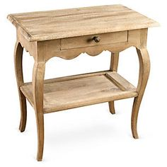 Colette 2-Shelf Nightstand, Natural