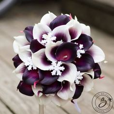 Calla lily winter bouquet, snowflake bouquet, plum purple calla bouquet with snowflakes, winter wond