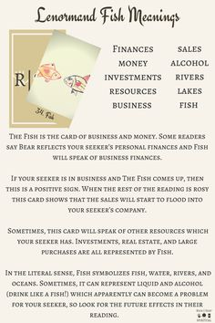 Lenormand Fish Keywords and card meanings which are suitable for beginners and can be used with any deck for fortune telling.