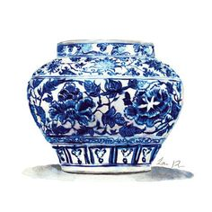 Artist Statement: Giclee print of watercolor painting of a blue and white Chinoiserie ginger jar, with an intricate motif of peony and twisting floral vines in cobalt blue against brilliant white. Add