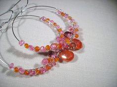 Hoop Earrings Pink Topaz tangerine Carnelian by OBTPjewelry