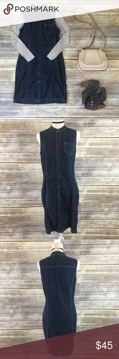 Tommy Hilfiger Denim Sleeveless Button Up Dress Super cute Tommy Hilfiger Sleeveless Denim Button Up Dress! Perfect to wear all year round! Goes with pretty much anything! You can't go wrong with denim and the outfit possibilities are endless!                        APPROX. FLAT LAY MEASUREMENTS        Bust: 18.5 inches (37 all around)  Shoulder to bottom(front): 37.5 inches  Shoulder to bottom(back): 38.5 inches Tommy Hilfiger Dresses