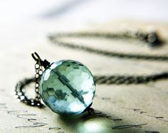 Aqua Glass Necklace $24.00