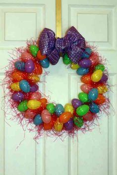 décoration de Pâques - couronne multicolore