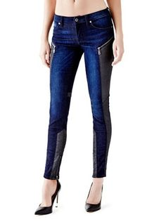 Mid-Rise Paneled Push-Up Skinny Jeans in Wasteland Wash at Guess