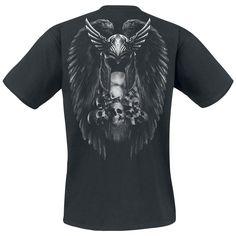 """Classica T-Shirt uomo nera """"Valkyrie"""" del #ToxicAngel con ampia stampa sul davanti che rappresenta una splendida guerriera valchiria alata. Sul retro della maglietta vi è un'ulteriore stampa. Sul retro della maglietta sono stampati l'elmo alato di un guerrieri e una pigna di teschi (dei suoi nemici probabilmente)."""