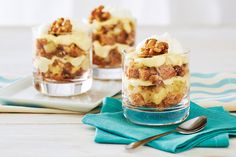 Mini Carrot Cake Trifles—Scrumptious layers of carrot cake, pineapple, candied walnuts and a luscious cream cheese custard make these tiny trifles a must-try for carrot cake lovers. Make them a day ahead and simply add the garnish before your guests arrive.