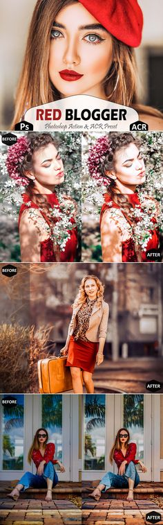 Red Blogger Photoshop Actions And ACR Presets This set includes----- -3 Unique photoshop actions (.atn file)  -1 installation guide For photoshop action (.pdf file) -3 Unique ACR Presets (.xmp file) insta bright warm, soft editing airy , portrait iphone app, summer social media, indoor image colour, correction outdoor, white influencer cc, vsco vibrant nature, selfie color palette, clean photo good, luxury professional, best moody digital, sharp picture tone Outdoor Photography, Lifestyle Photography, Colour Correction, Best Photoshop Actions, Fashion Themes, Instagram Influencer, Iphone App, Lightroom Presets, Color Inspiration